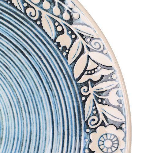 Набор из двух тарелок Manna Ceramics голубого цвета с орнаментом на ободке 27 см, фото