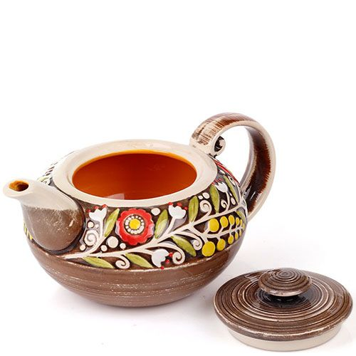 Керамический чайник Manna Ceramics коричневого цвета с цветами, фото