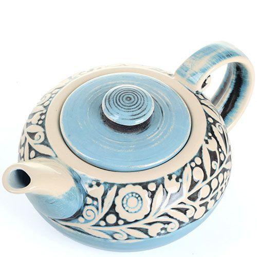 Керамический чайник Manna Ceramics голубого цвета с цветами, фото