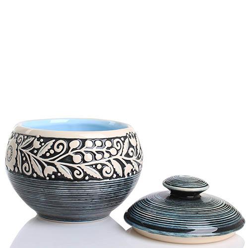 Набор из двух горшочков Manna Ceramics синего цвета с цветами, фото