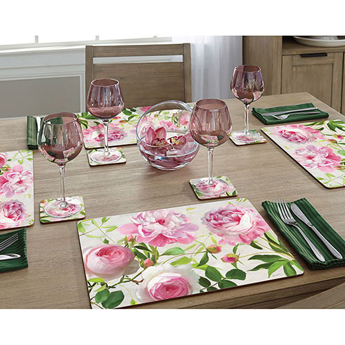 Набор ковриков Cala Home Pretty in Pink Пионы 4шт, фото