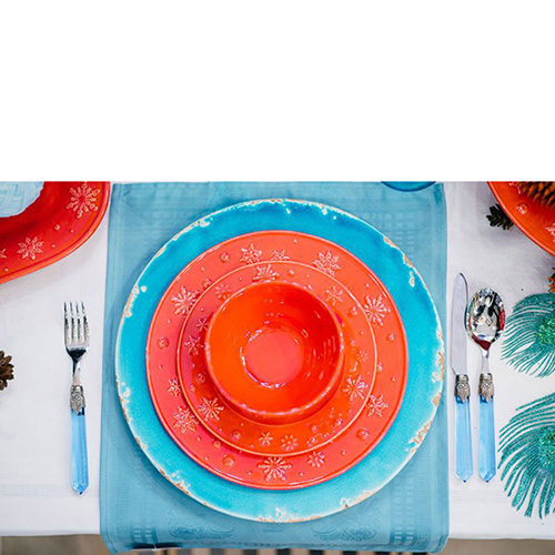 Керамическое блюдо Bizzirri Помпеи бирюзового цвета, фото