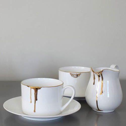Фарфоровая чашка с блюдцем Reiko Kaneko Rip Gold, фото