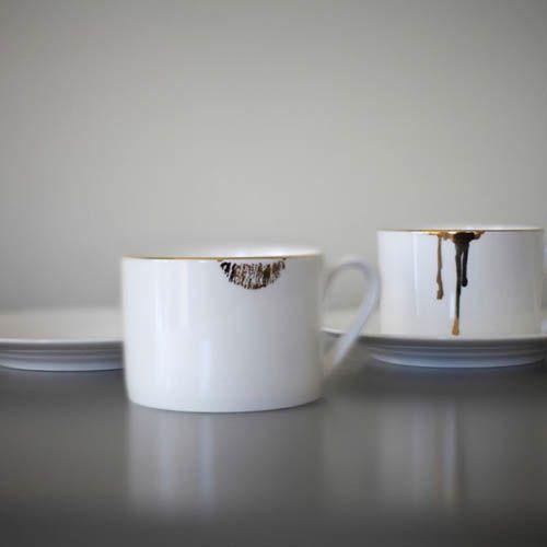 Фарфоровая чашка с блюдцем Reiko Kaneko Lip Gold, фото