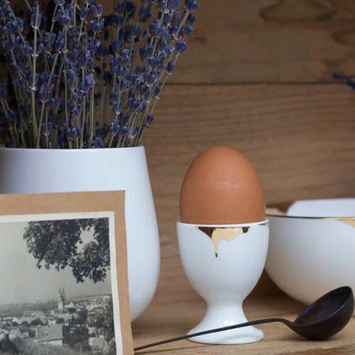 Фарфоровая подставка для яиц Reiko Kaneko Drip Gold, фото
