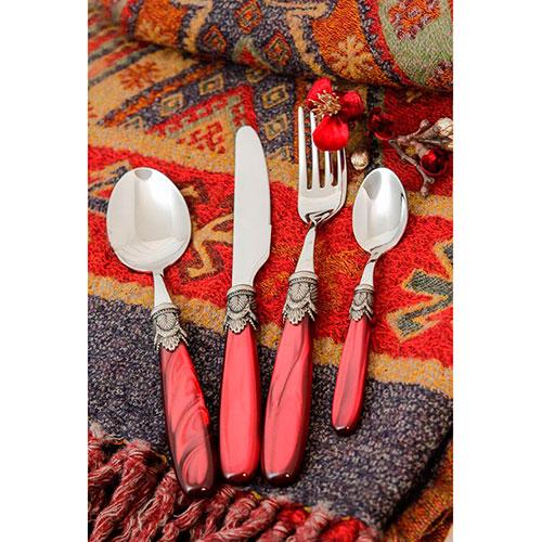 Набор столовых приборов на 6 персон Domus&Design Искья красного цвета, фото