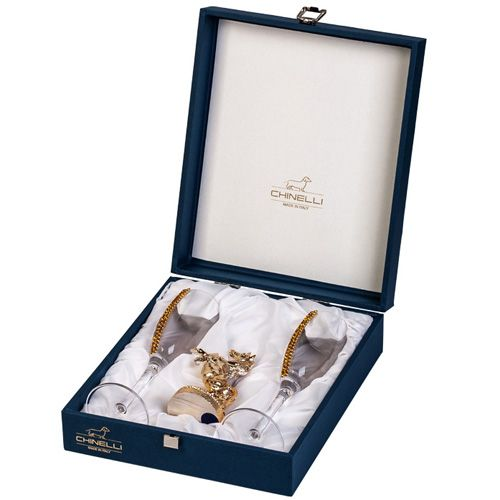 Набор Chinelli позолоченный из пары бокалов и статуэтки лошади, фото