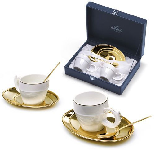 Чайная пара Chinelli «Политические решения» позолоченная в подарочном футляре, фото