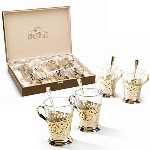 Набор Chinelli для чая позолоченный на 6 персон в деревянном подарочном футляре, фото