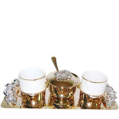 Кофейная пара Chinelli «Завтрак Императора» позолоченная с сахарницей на подносе, фото