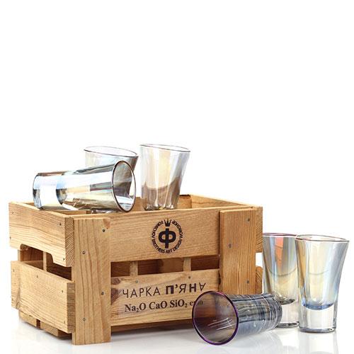 Набор из 6 стопок Fomichov Brothers Пьяное стекло в деревянном ящике, фото