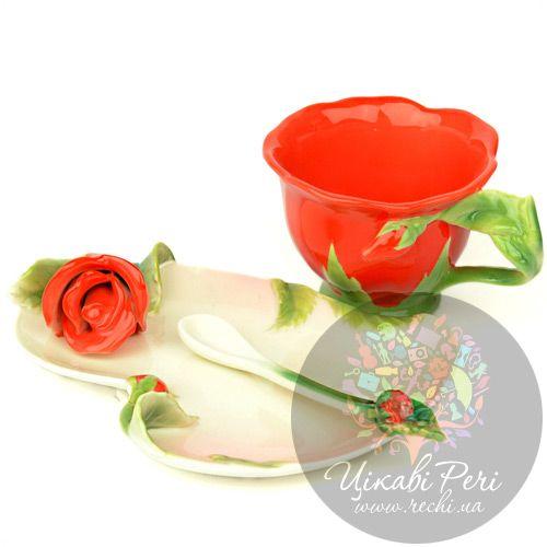 Набор Красная Роза: чашка блюдце ложечка Pavone, фото