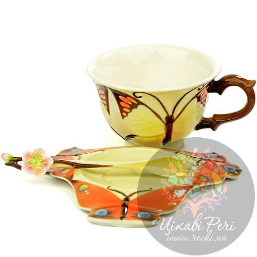Набор Бабочка: чашка блюдце ложечка Pavone, фото