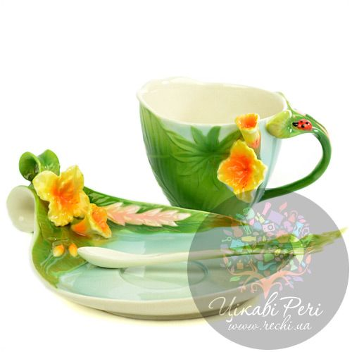 Набор Тропики: чашка блюдце ложечка Pavone, фото