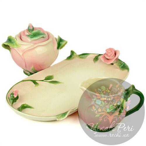 Набор Роза: сахарница и молочник Pavone, фото