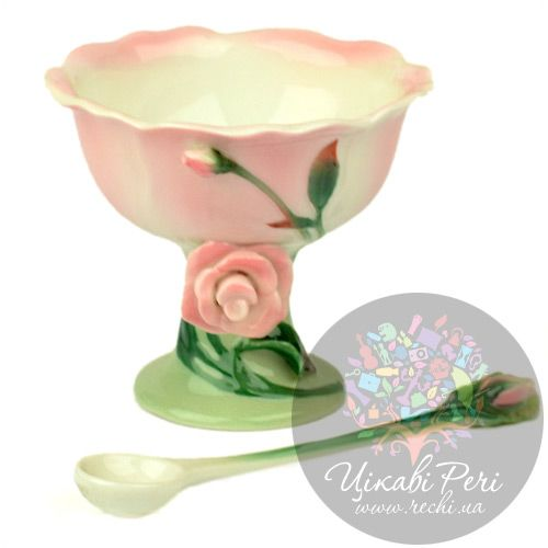 Креманка с ложечкой Роза Pavone, фото