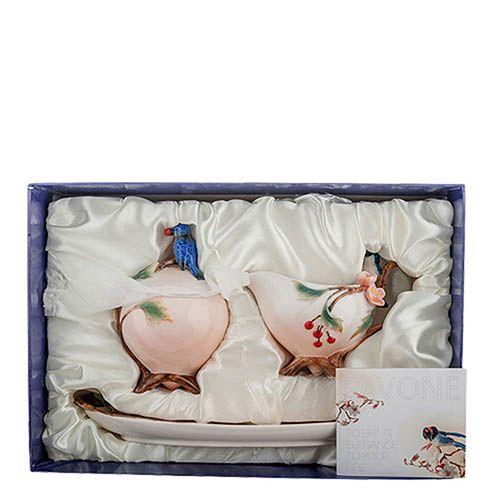 Набор сахарница и молочник Pavone Голубые птицы, фото