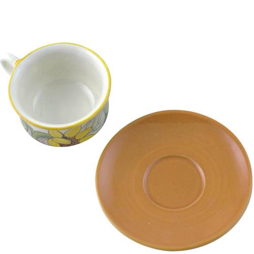 Чашка с блюдцем L'Antica Deruta Подсолнух из керамики, фото