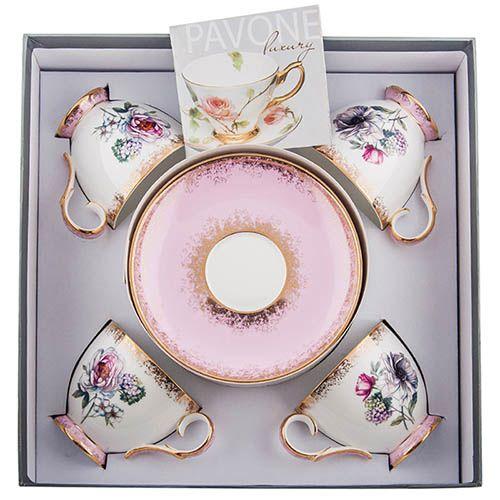 Чайный набор Pavone на четыре персоны Цветок Неаполя из фарфора, фото