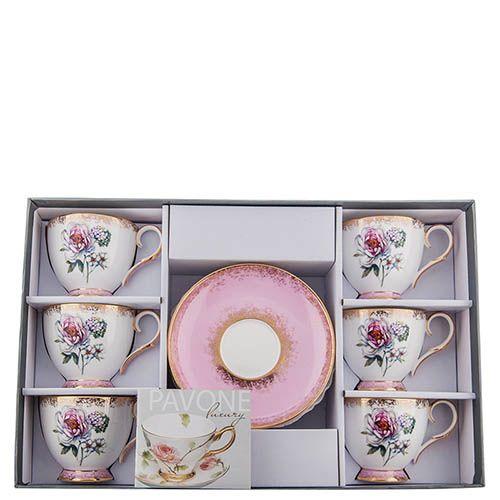 Чайный набор Pavone на шесть персон Цветок Неаполя из фарфора, фото
