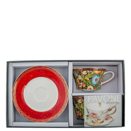 Чайный набор Pavone на две персоны Цветочный джаз красного цвета, фото