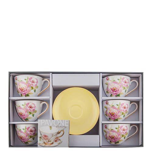 Чайный набор Pavone Torino Peony на шесть персон из фарфора, фото