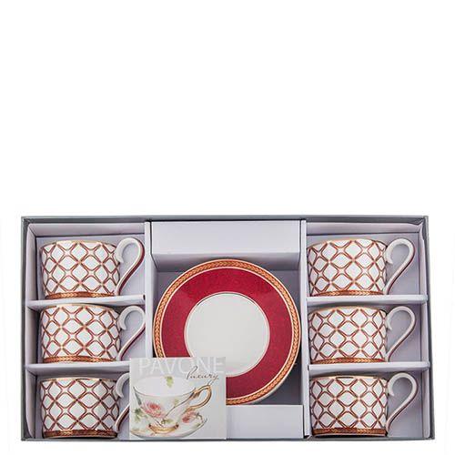 Чайный набор Pavone на шесть персон Eleganza из фарфора, фото