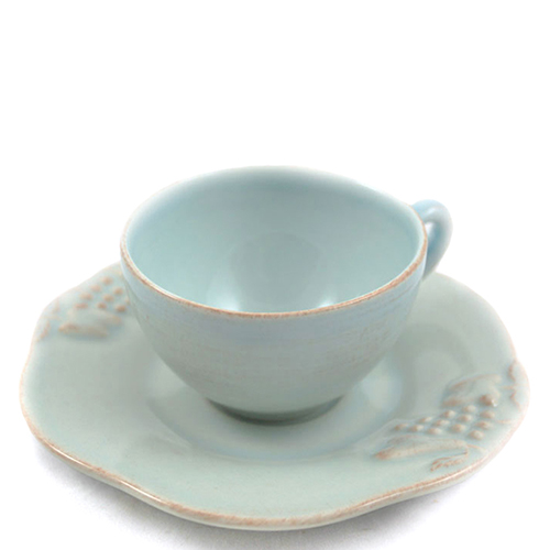 Чашка с блюдцем для кофе Costa Nova Mediterranea голубого цвета 90мл, фото