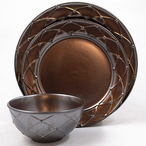 Тарелка для салата Costa Nova Meridian металлик 23см, фото