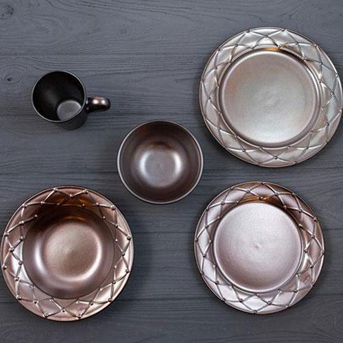 Тарелка для супа Costa Nova Meridian металлик 23см, фото