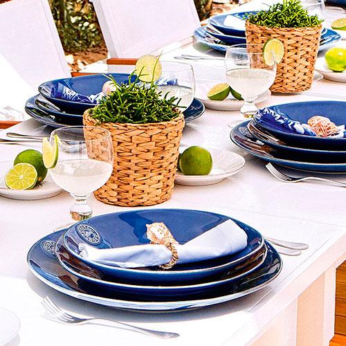 Синяя обеденная тарелка Costa Nova 27см, фото
