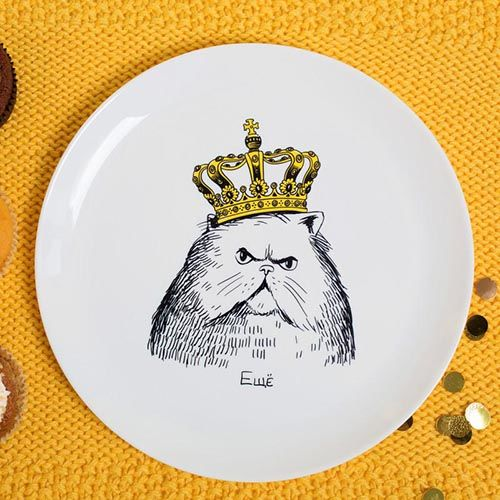 Тарелка Orner Store Кот в короне, фото