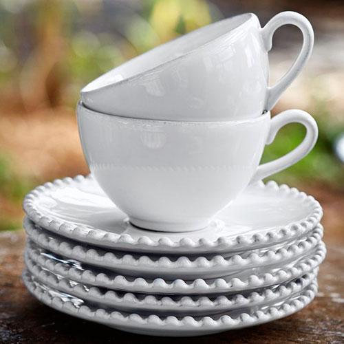Белая чашка с блюдцем Costa Nova Pearl 300мл, фото