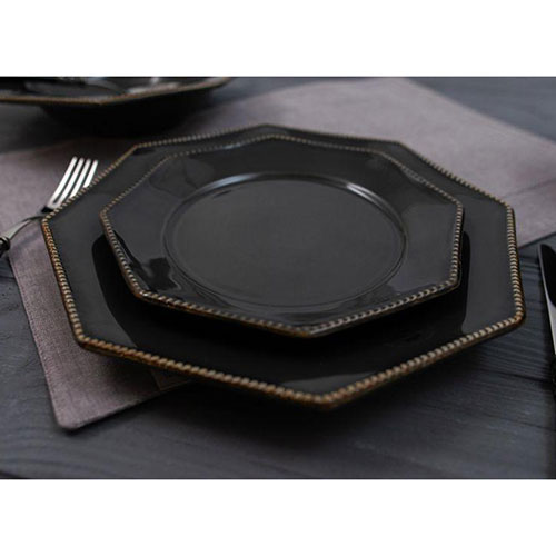 Тарелка для салата Costa Nova Luzia темно-серая 21см, фото