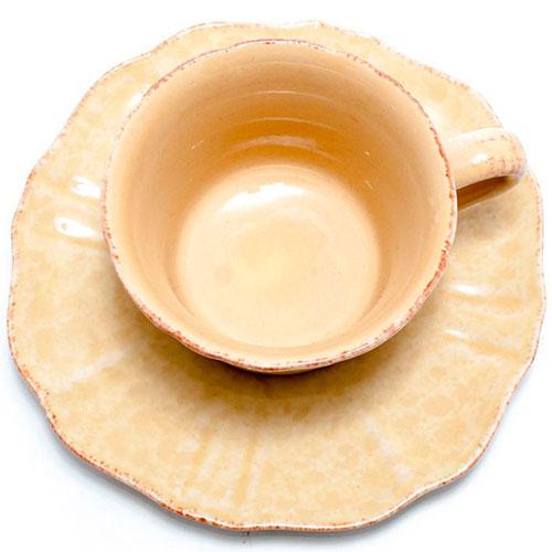 Чайная чашка с блюдцем Costa Nova Impressions из желтой керамики, фото