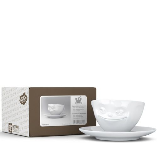 Чашка с блюдцем Tassen Grinning белого цвета 100 мл, фото