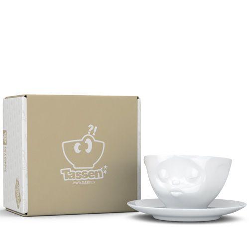 Чашка с блюдцем Tassen Kissing белого цвета, фото