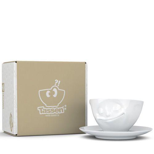 Чашка с блюдцем Tassen Happy белого цвета, фото