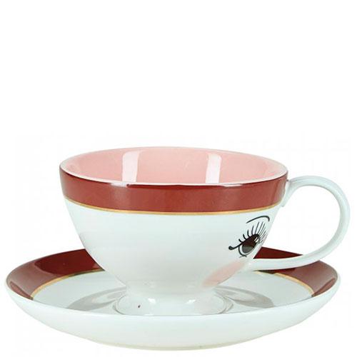 Чашка с блюдцем Miss Etoile с принтом-глазами, фото