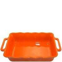 Большая прямоугольная керамическая форма Appolia оранжевого цвета с ручками 42 см х 26 см, фото