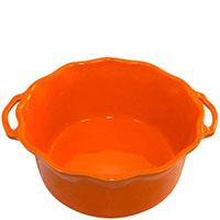 Керамическая форма для суфле Appolia оранжевого цвета с ручками и высокими бортами, фото