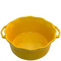 Керамическая форма для суфле Appolia желтого цвета с ручками и высокими бортами, фото
