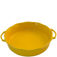Большая керамическая форма для суфле Appolia желтого цвета с ручками, фото