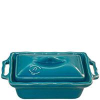 Керамическая форма для хлеба Appoli 20,5х11,7см голубого цвета с крышкой, фото