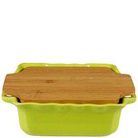 Керамическая форма для выпечки Appolia 25,6х21,7см зеленого цвета с крышкой-дощечкой из бамбука, фото
