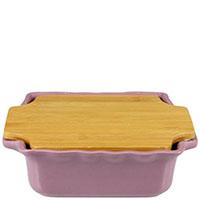 Керамическая форма для выпечки Appolia сиреневого цвета с крышкой-дощечкой из бамбука, фото