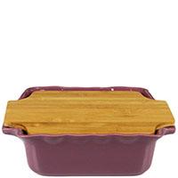 Форма для выпечки Appolia 30,4х25,3см из керамики с крышкой-дощечкой из бамбука, фото