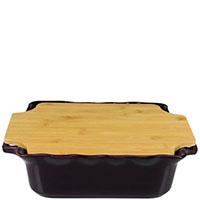 Форма для выпечки Appolia 34,3х29,3см из керамики с крышкой-дощечкой из бамбука, фото