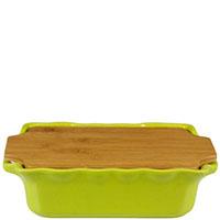 Форма для выпечки Appolia 28,9х17,9см из керамики с крышкой-дощечкой из бамбука, фото