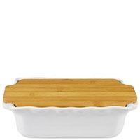 Керамическая прямоугольная форма для выпечки Appolia серного цвета с крышкой-дощечкой из бамбука, фото